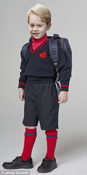 His first day - Four red polo necks: £40 Three V-neck jerseys: £75 Two pairs of navy Bermuda shorts: £46 Six pairs blue/red regulation socks: £42 Black polishable shoes: £34 Regulation rucksack: £13