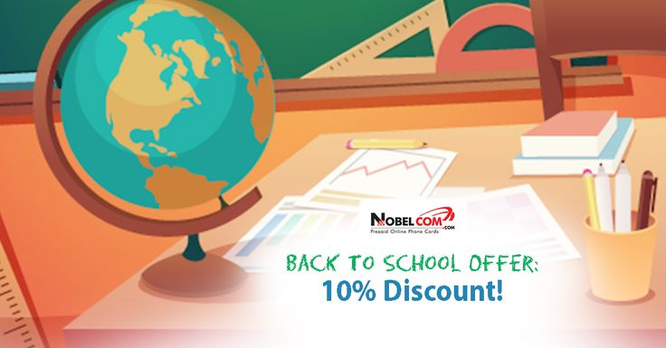 Go #backtoschool in style! Don`t miss out on www.NobelCom.com`s great offer! Benefit of 10% OFF on international calls using promo code 10SCHOOL until September 7th, 2015.