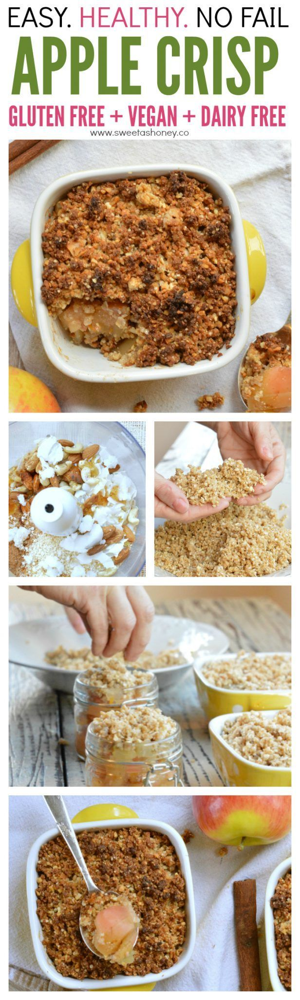 Easy Healthy Gluten free Apple crisp recipe. The best clean apple crumble recipe with an homemade crisp made of coconut oil, nuts, quinoa flakes.