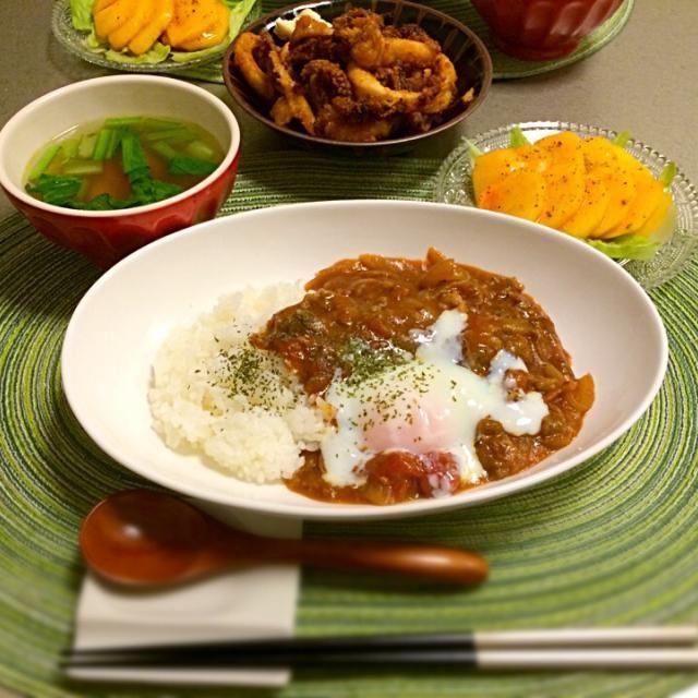ごはん日記 柿とバルサミコ酢の組み合わせがお気に入り(*^^*) - 13件のもぐもぐ - ハヤシライスと柿サラダ by Mika  Suzuki