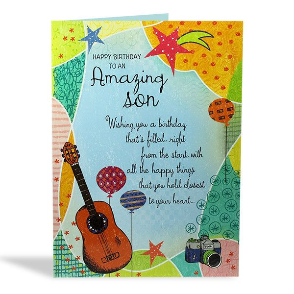 Birthday Card For Son Happy Birthday to an amazing Son, wishing you birthday that's filled, right from the start, with all the happy things that you hold closest to your heart… And may the year that lies ahead bring you happiness today and everyday, Enjoy your special day. Size : 12 X 9 Inch. | Rs. 224 | https://hallmarkcards.co.in/collections/shop-all/products/birthday-wishes-for-son