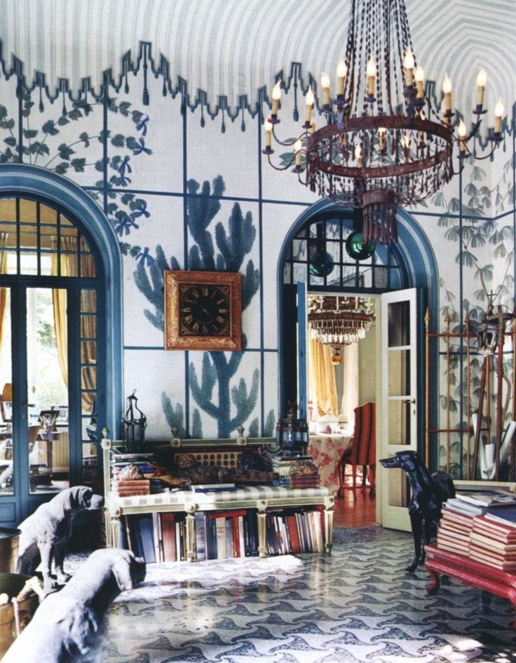 http://www.markdsikes.com/2012/02/09/eclectic-chic/--great painted walls and love the dogs
