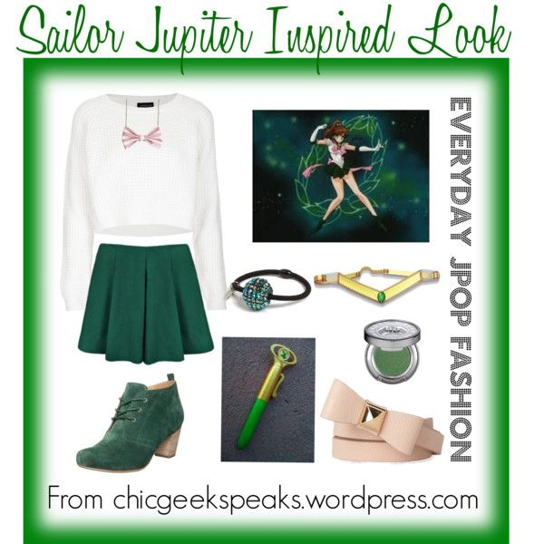 A casual outfit inspired by Makoto/Sailor Jupiter's uniform from the original Sailor Moon anime. Find all the looks inspired by the Sailor Scouts by checking out the full article at http://chicgeekspeaks.wordpress.com/2014/06/06/everyday-jpop-fashion-6-sailor-moon-inspired-looks/
