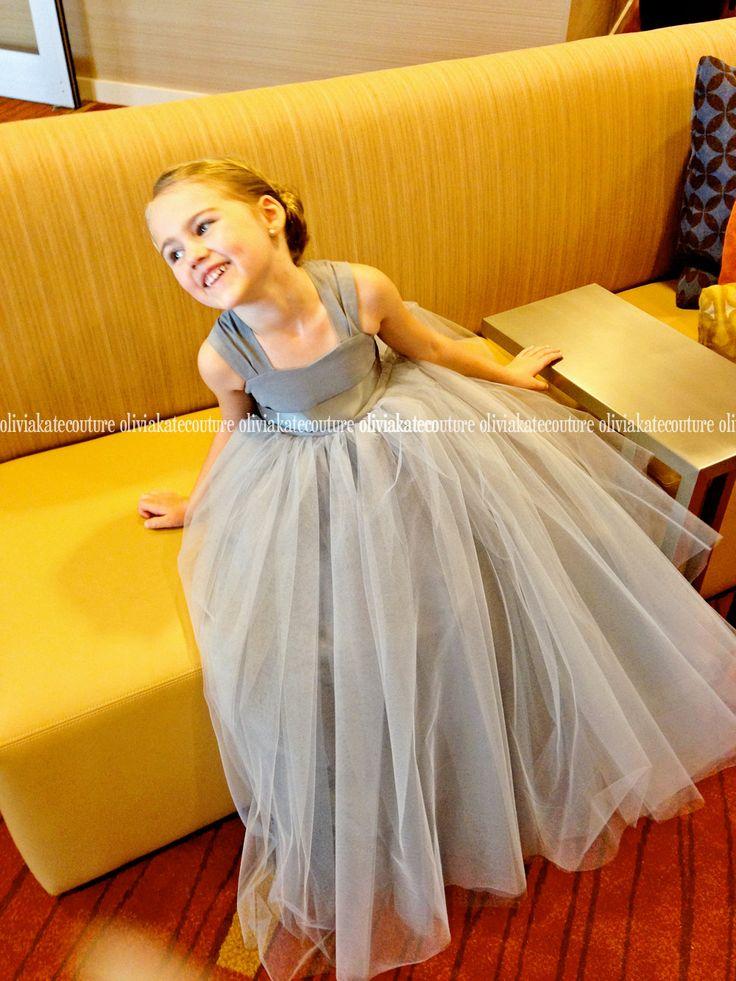 Gray Silver Flower Girl Dress Floor Length by OliviaKateCouture