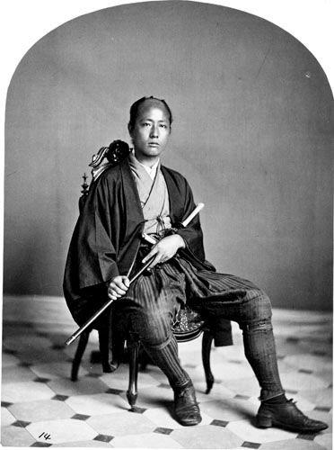 A portrait of a samurai, an 1860 salt print, attributed to the studio of C. D. Fredricks & Company.