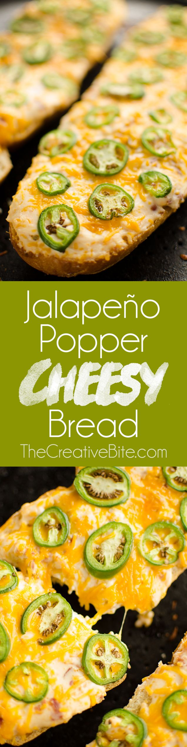 Jalapeño Popper Cheesy Bread takes all the great flavors of Jalapeño Poppers, including bacon and cream cheese, and combines them into one easy to make appetizer.