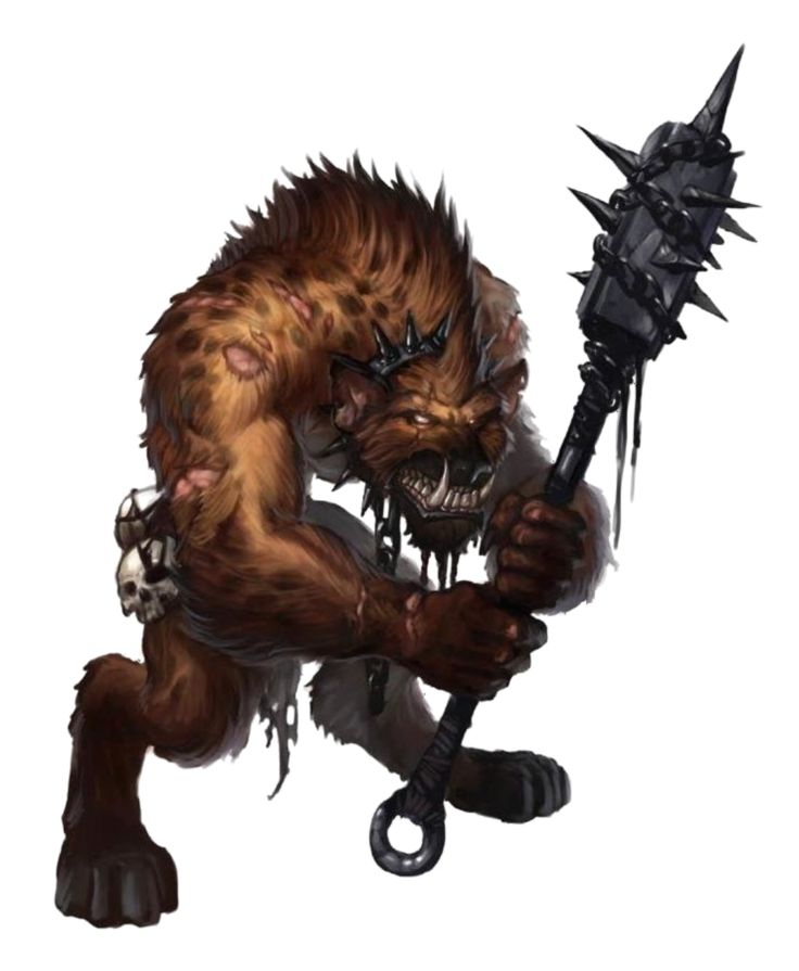 Male Gnoll Barbarian or Ranger - Pathfinder PFRPG DND D&D 3.5 5th ed d20 fantasy