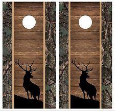 deer head cornhole boards decals | ... wood tribal deer buck head hunting cornhole board wrap decal set COOL