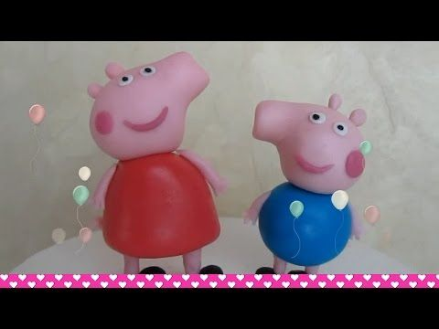 How to make Fondant Peppa Pig and George cake topper figurines - ENGLISH - YouTube