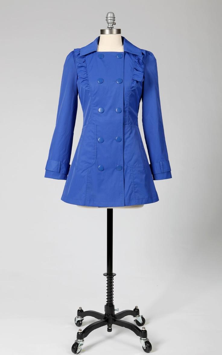 Cute rain jacket!Rain Coats, Ruffles Raincoat, Double Breast, Cutest Raincoat, Bright Raincoat, Rain Jackets, Blue Coats, Fashion Fun, Breast Raincoat