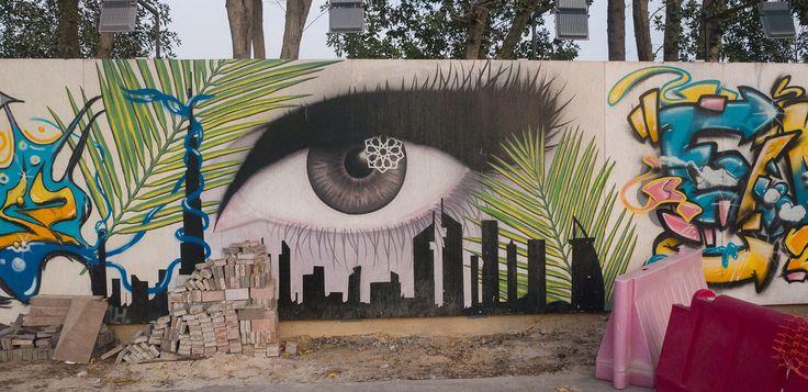Eye and Dubai Buildings Mural