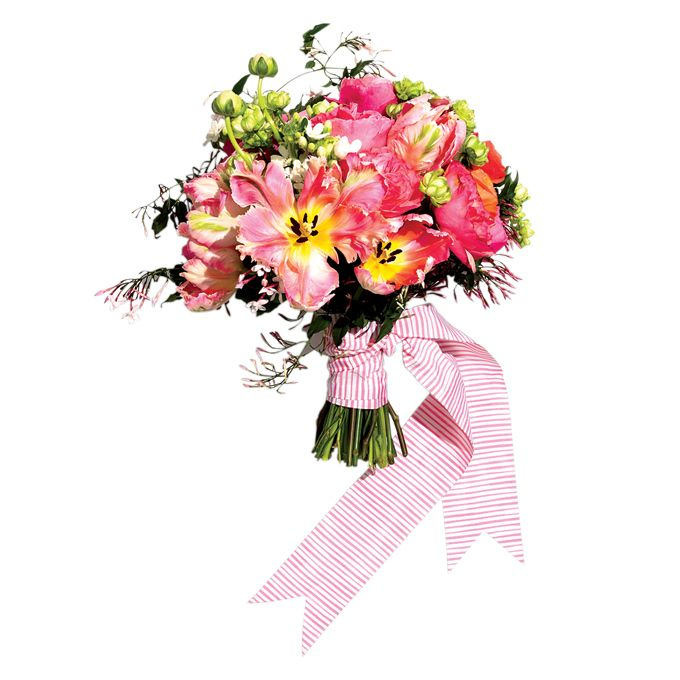 """Brides.com: Colorful Wedding Bouquets. Summery Pink Bouquet. Say """"I do"""" in the summer sun with an equally bright wedding bouquet.   Bouquet of roses, ranunculus, tweedia, parrot tulips, veronicas, bunny tail, and jasmine, $325, Kat Flower  See more classic summer wedding ideas."""