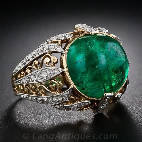 Antique Cabochon Emerald and Diamond Ring - 30-1-4273 - Lang Antiques