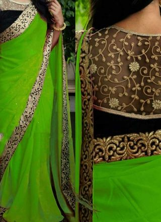 Parrot Green Embroidery Work Georgette Designer Party Wear Sarees http://www.angelnx.com/Sarees/Designer-Sarees