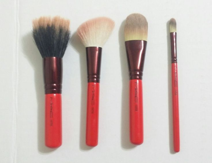 MAC cosmetic brush Set 4 # 190SE 187SE 168SE 194SE RED Short Handle Preowned | Health & Beauty, Makeup, Makeup Tools & Accessories | eBay!
