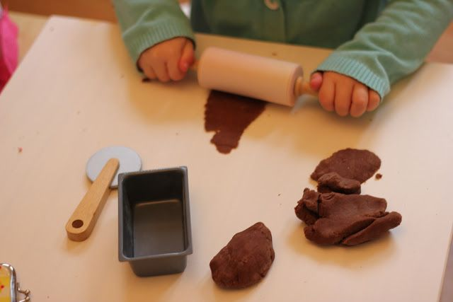 """Easy Chocolate Play Dough Recipe - The Imagination Tree   We added coffee grounds to make """"dirt"""""""