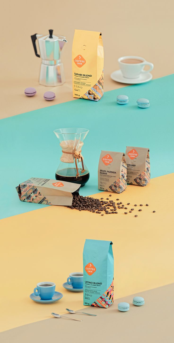 Coffee packaging for local Lithuanian coffee chain Coffee Inn.