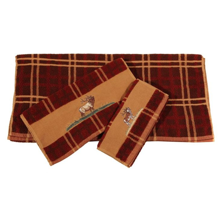 HiEnd Accents Embroidered Elk 3 Piece Bath Towel Set Plaid - TL5140-OS-PL