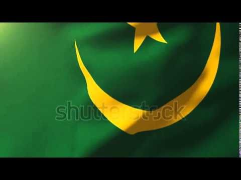 Mauritania flag waving in the wind. Looping sun rises style. Animation l...