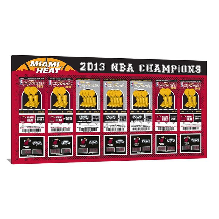 Miami Heat 2013 NBA Finals Tickets To History Canvas Print, Multicolor
