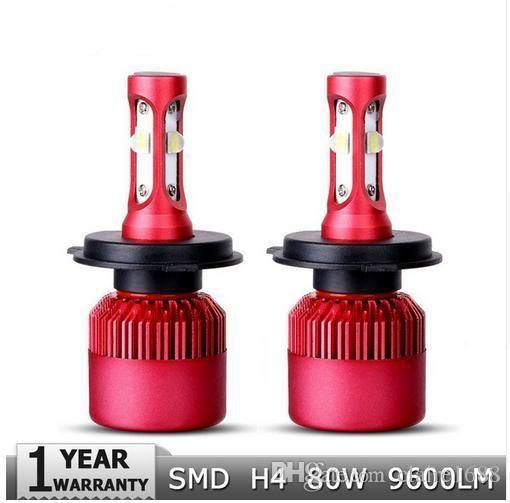 H4 High-Low Beam LED Car Headlight Bulb CREE SMD Chips 80W 9600LM per Pair 6500K Auto Headlamp Light H4 Car Bulbs 12v 24v - $65.99
