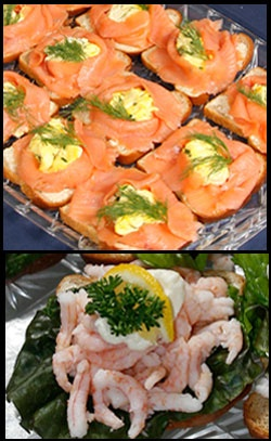 Open face sandwiches (smorbrod).  Wonderful variations here.  Eat with a knife and fork.
