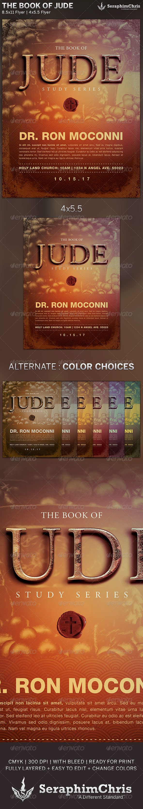 The Book of Jude: Church Flyer Template is designed for sermon series or church events revolving around the book of written by Jude, 1 of the 66 books in the Bible. This premium flyer design is constructed to give the highest dynamic quality when printed or posted to social media site and other formats. This file is exclusive to graphicriver.net