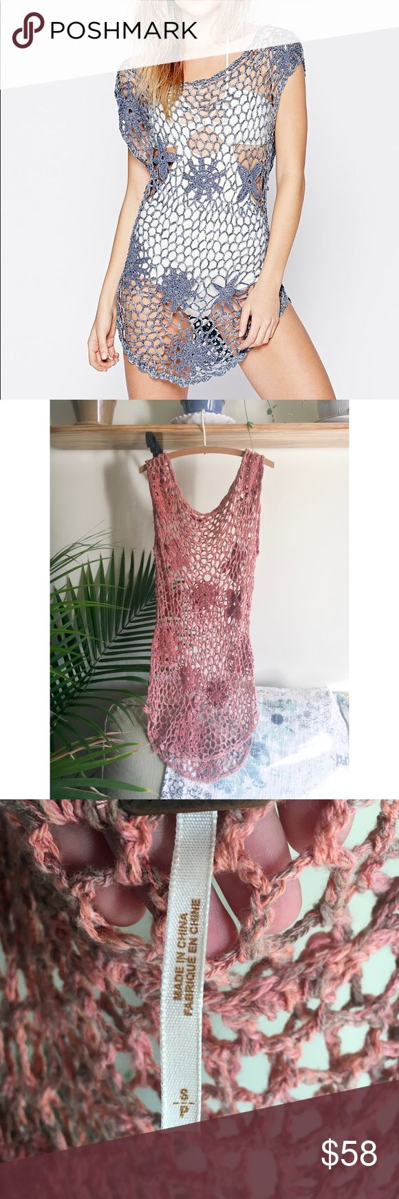 Free People Open Stitch Beach Tunic Free People   Crochet Knit Beach Tunic  Color Pink   Size S  This is an old Rare Free People piece!   Worn once/excellent condition   Wear as a beach cover up or with a slip underneath!! Free People Dresses Mini