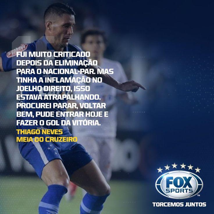 Após ser criticado Thiago Neves fez o gol da vitória da Raposa sobre o Peixe. E o meia falou sobre o momento ruim vivido na temporada. pic.twitter.com/LUhx8AxKXY   FOX Sports Brasil (@FoxSports_br) May 29 2017   FoxSports_br #Cruzeiro ℹ
