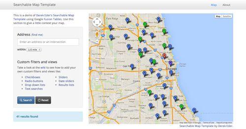 Searchable map template demo. (http://derekeder.github.io/FusionTable-Map-Template/)