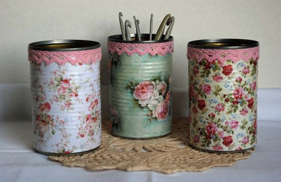 Vintage Roses  Shabby Chic Style Tin Desk Organizer with Doily - Your Choice of 1 on Etsy, $14.00