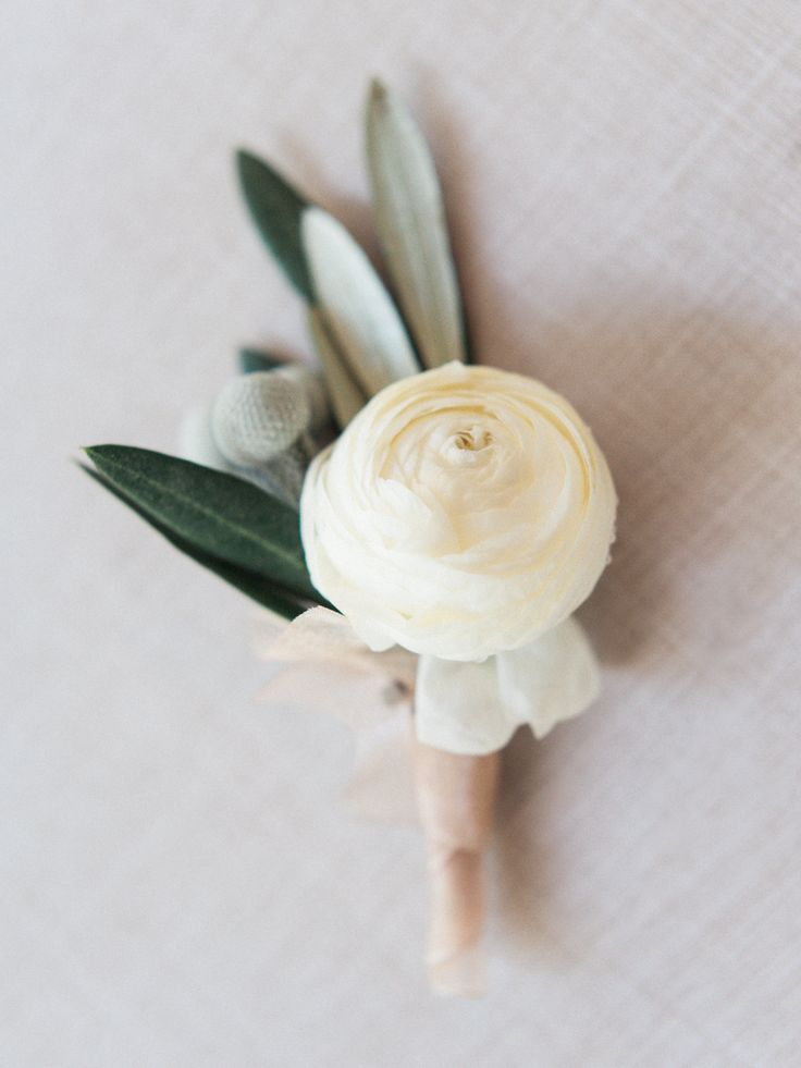 Ranunculus . Olive Branch . Berry . Boutonniere vintage garden wedding. Atlanta GA  I love the simplicity.