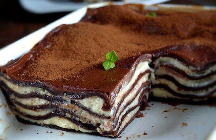 Lasagne připravené na sladko. Neodolatelná pochoutka z tvarohu, mascarpone, čokolády, kakaa, ...
