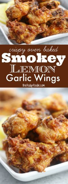 Crispy and baked, these Smokey Lemon Garlic Wings have the subtle flavor of smoked paprika combined with a brightness of lemon and savoriness of garlic. Perfect for game day or a family favorite on movie night! https://www.thefedupfoodie.com