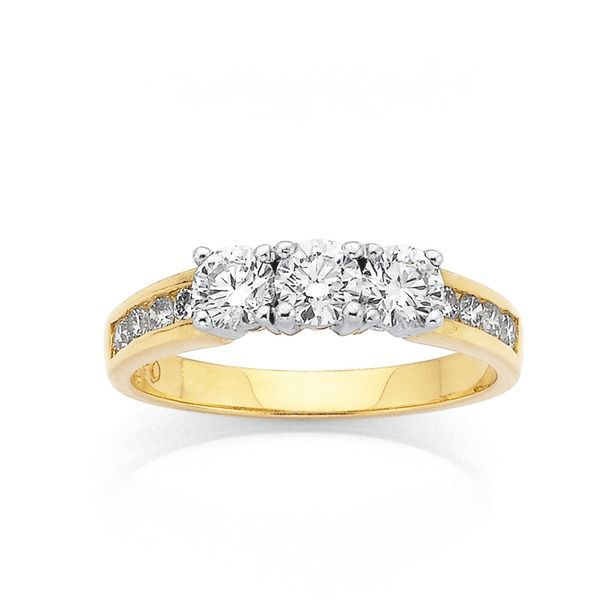 Classic 3 stone ring that symbolises the past, present and the future. 18ct, 3 Stone Diamond Ring Total Diamond Weight=1ct