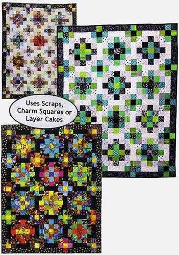 Designs to Share with You quilt pattern - Scraps Galore - designed by Ursula Riegel  The secret of these quilts lies in the size of square used to begin with.  You will have a lot of fun playing with scraps...and who doesn't have those! Pre-cut 5 squares or 10 squares will also work