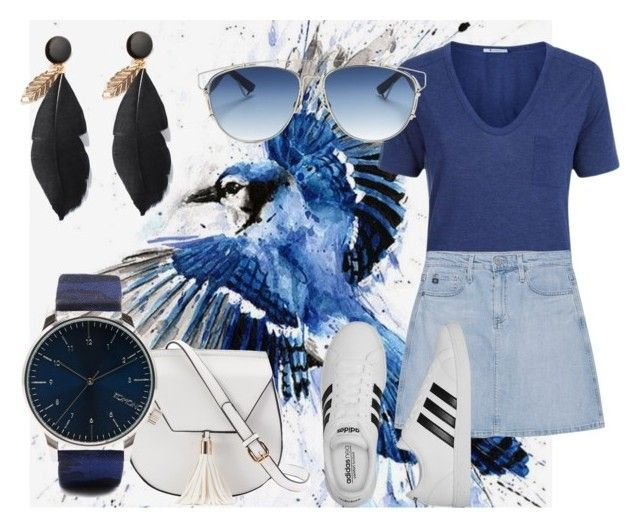 """""""Let's go blue"""" by gde-2001 on Polyvore featuring mode, T By Alexander Wang, AG Adriano Goldschmied, Christian Dior, adidas, Yoki en Komono"""