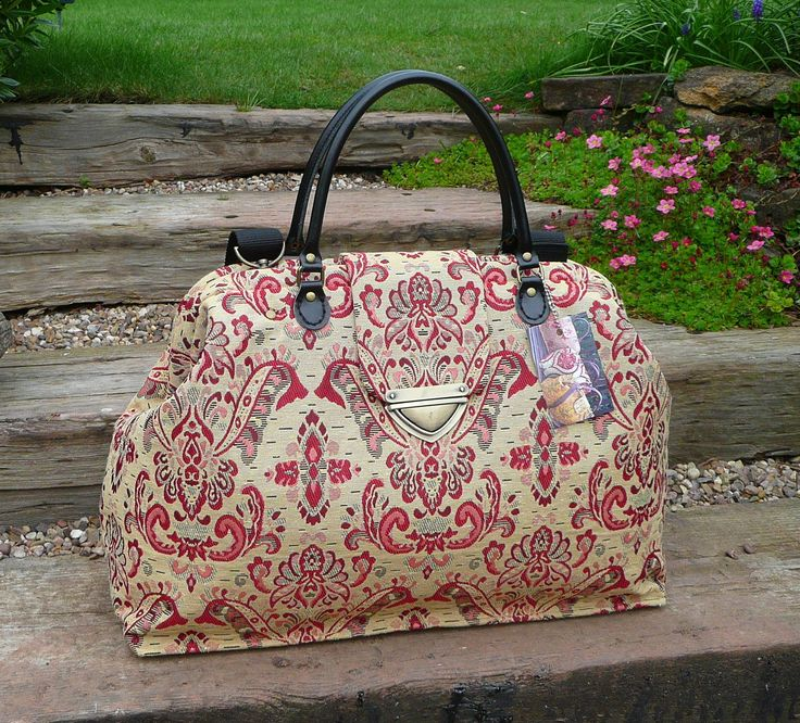 Weekender bag, Carpet Bag, Mary Poppins Bag, Tapestry Bag, medallion fabric bag, Gold and red tapestry bag, by Bagsofelegance on Etsy