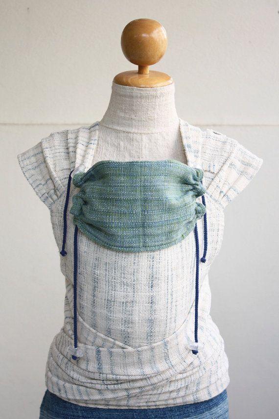 Preorder (July 2015) BaBy SaBye Wrap Mei Tai sling hand-woven two-side with a hood STANDART size model44 WhiteNaturalBlue/BlueGreen