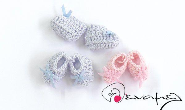 Κεράσματα γέννας ζευγάρι παπουτσάκια πλεχτά. Διαθέσιμα σε 2χρώματα…