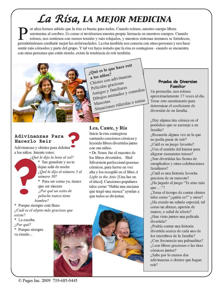 Laughter the Best Medicine in Spanish and English. Available free at parentpagesnews.com FREE
