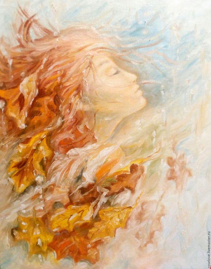 """Купить Картина маслом осень"""" пейзаж холст оранжевый золотой листопад - картина осень"""