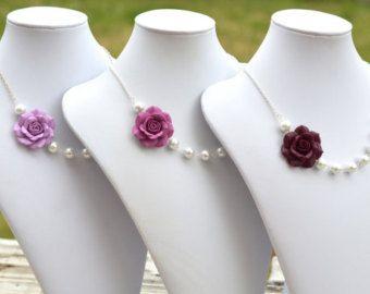 LIBRE de pendientes azules marino rosa collar collar por Diaszabo