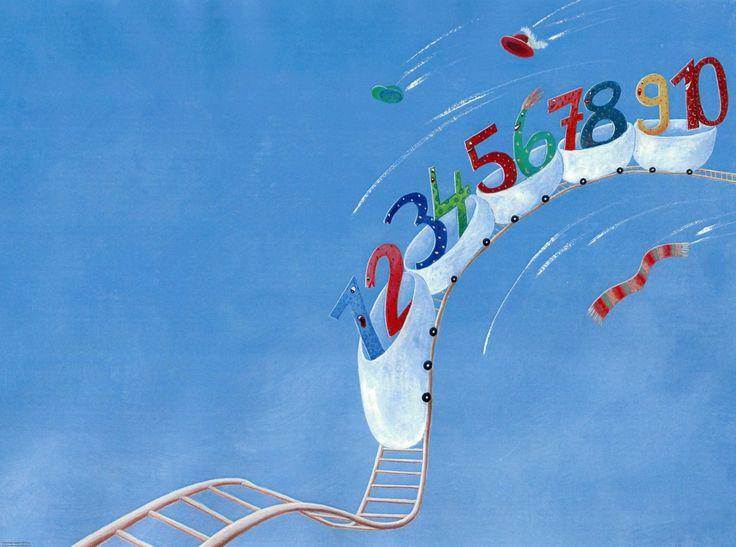 """Illustrator:   Ulrike Baier   Titel:   Der coole Zahlenhit   Schlagwörter:   Achterbahn, Zahlen   Thema:   Charaktere / Sympathiefigur, Humor, Pädagogik / Erziehung  Stil:   Kinderbuch / Jugendbuch, Lehrbuch / Schulbuch / didaktisch / Pädagogisch  Medium/Anwendung:   Technik:   Beschreibung: Hintergrundillustration für das Lied """"Der coole Zahlenhit"""" aus dem Lieder- und Geschichtenbuch """"Kleine Welt der Zahl"""", erschienen im Schroedel-Verlag"""