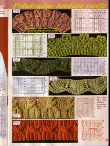 Кайма, зигзаги, несколько интересных узоров. Схемы. / Вязание спицами / Вязание для женщин спицами. Схемы