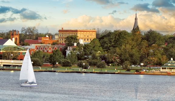 Downtown New Bern, NC The only place that has salt water on one side of town and fresh water on the other. Also, Pesi Cola founded here.