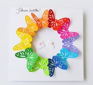 handmade card ... die cut butterflies form a wreath ... arranged in rainbow order ... light and bright ... delightful!!
