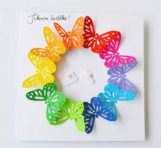 handmade card ... die cut butterflies form a wreath ... arranged in rainbow order ... light and bright ... delightful!!