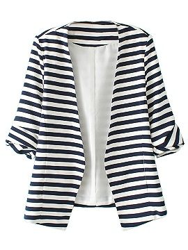 Shop Blue And White Stripes Roll Up Sleeve Slim Blazer from choies.com .Free shipping Worldwide.$22.9