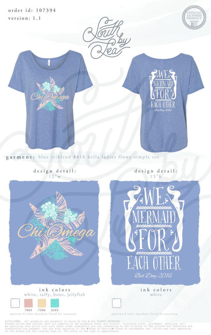 Tshirt design for alumni homecoming - We Mermaid For Each Other Chi Omega Chi O Starfish Seastar